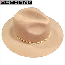 Winter Fashion Wool Felt Cowboy Hat with Metal Chain