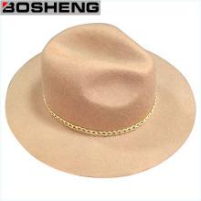 Sombrero de vaquero de fieltro de lana de moda de invierno con cadena de metal