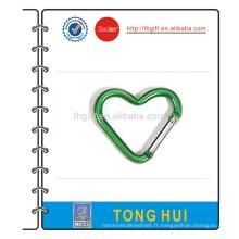 Crochet de mousqueton en aluminium à forme de coeur pas cher