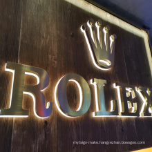 China custom advertising 3D LED wall logo sign mirror stainless steel channel back lighting letters