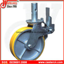 Roulette d'échafaudage en PU jaune de 8 pouces