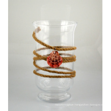Glass Candle Holder with Jute Rope and Shell