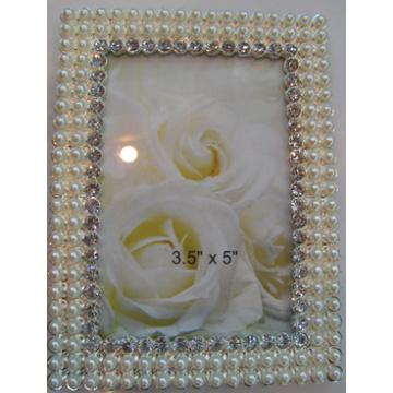 4x6inch Zink-Fotorahmen mit Perlen und Kristallen