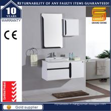 Cabinet de rangement de salle de bain en laine blanc brillant avec dessus en pierre artificielle