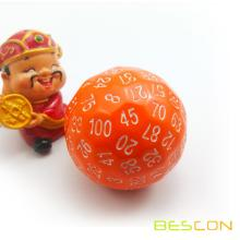 Bescon Polyhedral Dice 100 Sides Dice, D100 die, 100 Sided Cube, D100 Game Dice, 100-Sided Cube of Orange Color