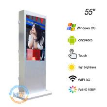 Пол 55 дюймов стоя экран касания солнечного света четкий для напольной рекламы киоск