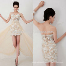 Sexy 2014 Champagne Sweetheart Lace Applique Beaded Short Sheer Sheath Cocktail Dress With Long Detachable Tulle Skirt NB0829