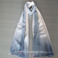 Fashionable new design blue color airbrushed cashmere scarf