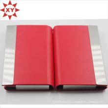 Titular de la tarjeta de visita de cuero rojo Titular de la tarjeta de identificación de la tarjeta de identificación del metal