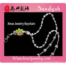 lastest popular magnetic Charm Crystal Christmas Lanyards Green Crystal Keychain
