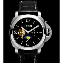 luxury custom leather back case steel automatic watch