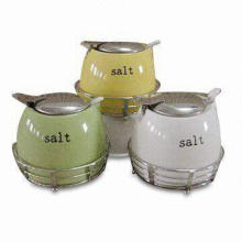 Porcelain Canister with Metal Rack and Lid, Customized Designs, Sizes, Shapes and Logos are Welcome