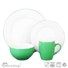 Nouveau ensemble de dîner de la forme 16pcs vert bicolore