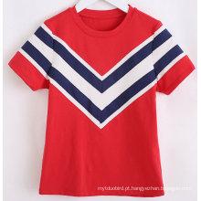 T-shirt da menina da marinha da listra da forma