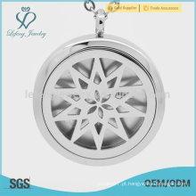 Aço inoxidável sólido perfume recipiente lockets, estrela de prata perfume locket