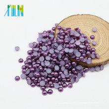 Оптовая Z48-темно-синий фиолетовый АБС flatback полукруглый жемчуг ногтей