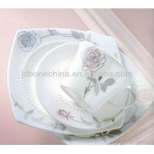 Forma quadrada rosa rosa Alemanha Japonês real fina porcelana porcelana de osso
