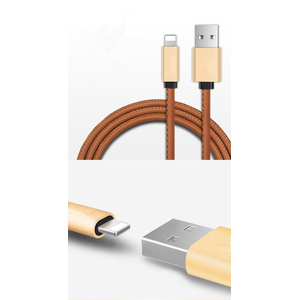 Leather braceleted USB charger cable