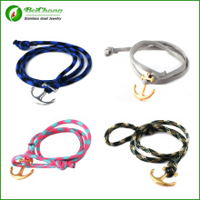 Wholesale various colors men anchor rope bracelet