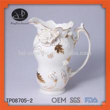 Nuevo producto de cerámica en relieve de oro taco de té de encaje y hervidor conjunto tetera