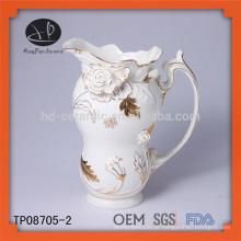 Novo produto de cerâmica em relevo ouro laço chá pote e chaleira set teapot