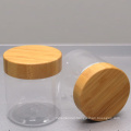 cosmetic packaging 500ml clear pet jar with bamboo lid for cream food