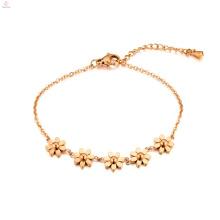 Bracelete de aço inoxidável da flor do heronbill do ouro de 18K Rose