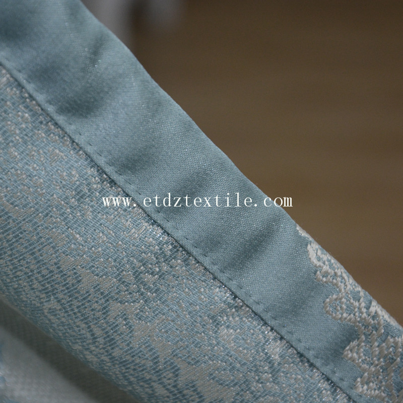Toppest Grade of Embroidery Like Jacquard Ready Made Curtain GF028 Water Blue