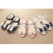 Pretty princess summer kids sandals for girls with hollow out bowtie