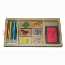 Caja de sellos de madera (80647)