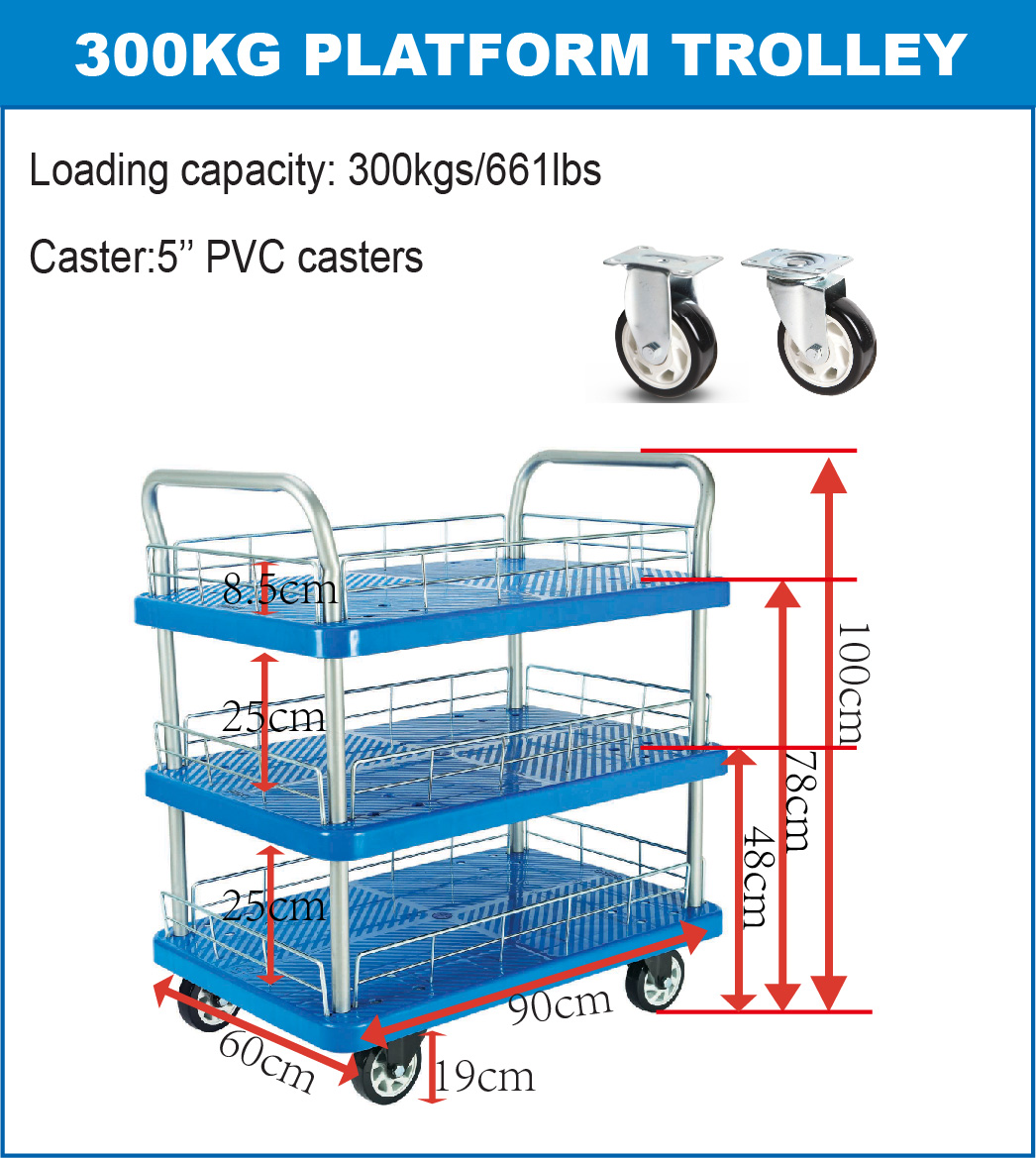 300kgs Triple Layers Platform Hand Trolley Specification