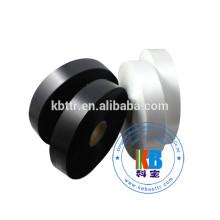 Impresso rótulo de vestuário preto 100% poliéster tecido de cetim