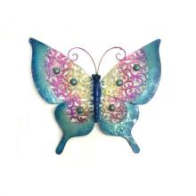 Artesanía de pared de mariposa de metal áspero con piedra de color