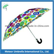 Colorido, impresso, parasol, dobrando, sol, chuva, PRESENTE, guarda-chuva