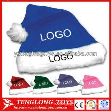 Logo custom Santa hat fashion blue plush Christmas hat