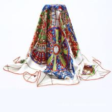 Fashion 90x90cm hot stamp propre écharpe en soie design