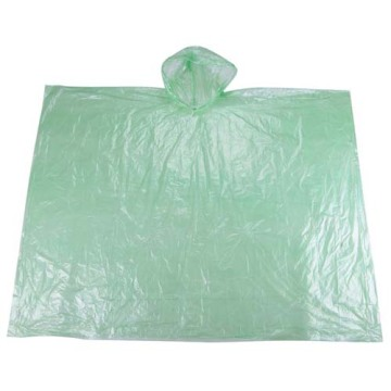 Green Disposable PE Poncho