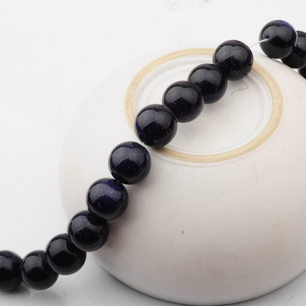 14MM Loose natural Blue Goldstone Crystal Round Beads for Making jewelry