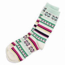 Women's Socks, Made of 90% Polyester and 10% Spandex, Customized Designs are Welcome