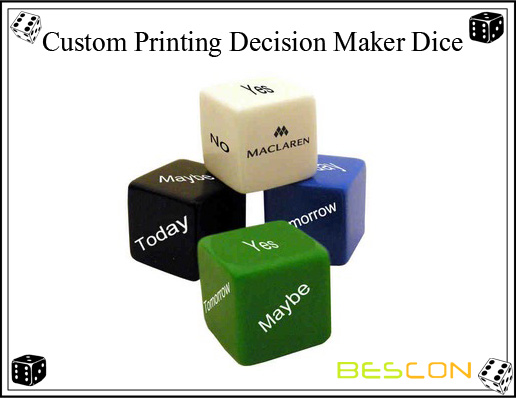 Custom Printing Decision Maker Dice