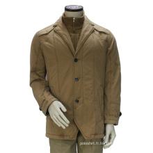 Veste d'hiver col montant double couleur kaki homme