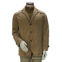 Homens Cáqui Cor Double Stand Collar Winter Jacket