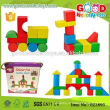 EZ1093 30pcs Красочная игра детей Маленькие деревянные блоки с Colorbox