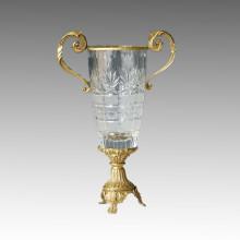 Crystal Vase Statue Leaves Bronze Sculpture Tpgp-008
