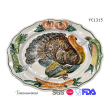 Promotional Hand Painted Turkey Platter