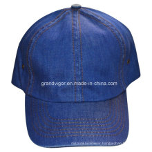 Plain Blue Denim Sports Cap with Velcro Closure