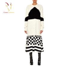 Damen Cashmere Heavy Knit Cable langen Pullover