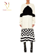 Suéter largo de punto grueso de cachemir para mujer