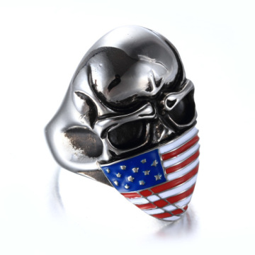 Low MOQ American flag enamel skull ring