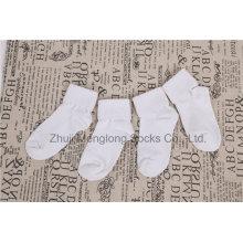 Diseño básico cómodo doble ajustable puño algodón bebé calcetines calcetines recién nacidos